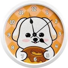 도너츠 흰둥이 강아지 (벽시계) 보석십자수 23.5x23.5