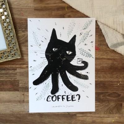 자연공방 고양문어 Coffee? A4, A3 아트포스터
