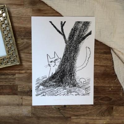자연공방 부끄부끄 숲속 고양이 A4,A3 아트포스터