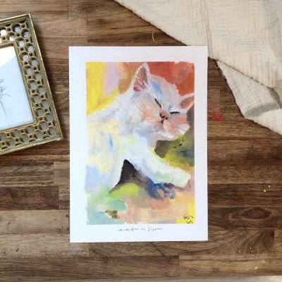 자연공방 고양이의 따뜻한 낮잠  아트포스터 A4, A3 아트포스터