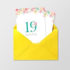 [앳원스]플라워 기념생일 숫자카드 8종 (18~30)