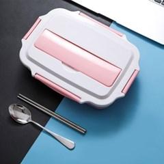 해피런치 수저통 4구 식판도시락 (핑크)