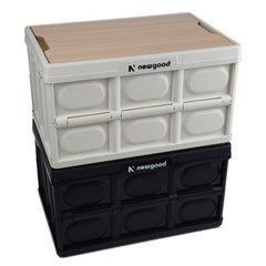 우드상판포함 접이식 캠핑박스 캠핑테이블 트렁크정리함 Black