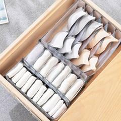메쉬 반투명 속옷 양말 수납 보관함 정리함 (6칸)