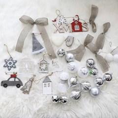 크리스마스 트리 오너먼트 비앙카실버 장식세트