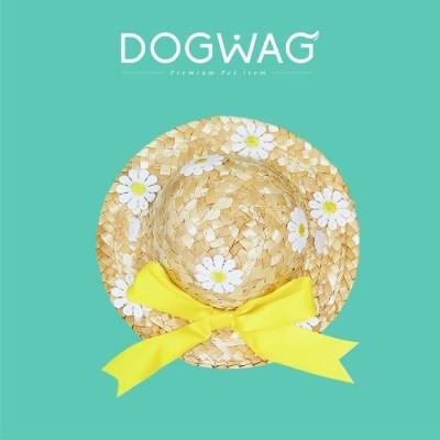 도그웨그 데이지 밀짚 모자 강아지 고양이 여름