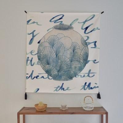 일러스트 패브릭 포스터 / 가리개 커튼_달항아리 01