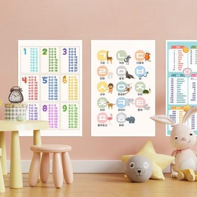 아이들 유아학습 패브릭 교육용 포스터 A1