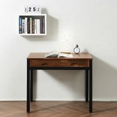 멀바우 원목 스틸 좁은 방 책상 미디 테이블 900