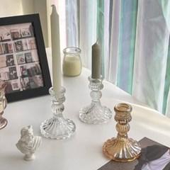 크리스탈 양각 유리촛대 1구촛대 캔들홀더
