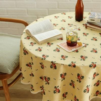 들딸기 원형식탁보(옐로우)
