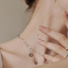 [silver925]round flat chain necklace
