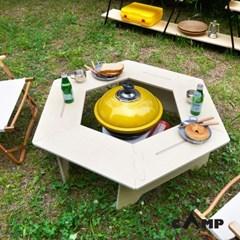 캠선생 위크 원목 육각테이블 캠핑테이블 난로 화로대 불멍