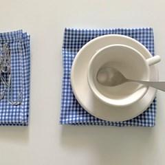 블루 체크 테이블 매트