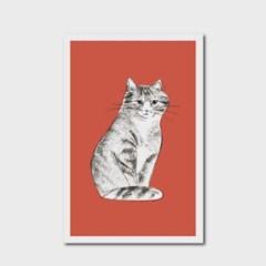 고양이 엽서 레드