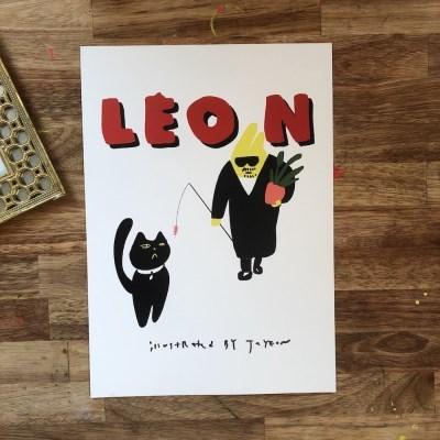 자연공방 Leon with낚시대 a4, a3 아트포스터