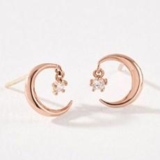 [14k Gold] '심플함 속 특별한 달빛' 달링문 귀걸이