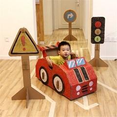 어린이 유아 자동차 신호등 놀이 종이집 박스 골판지 J