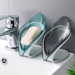 욕실 물빠짐 투명 나뭇잎 비누받침대