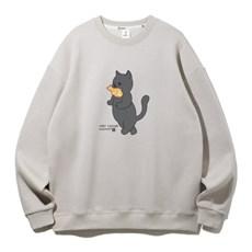 앨빈클로 붕어빵 고양이 오버핏 맨투맨 MAR957 (2COLOR)