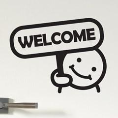 welcome 팻말 든 귀요미 가게 인테리어 스티커