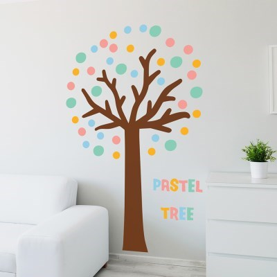 알록달록 파스텔 트리 대형 나무 인테리어 스티커
