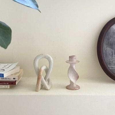 내추럴 스톤 트위스트 캔들 홀더 유니크 인테리어 오브제 조각품