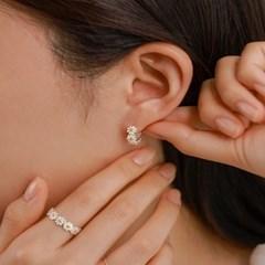 실버925 옐로우 데이지 화환 꽃 원터치 링 은 귀걸이