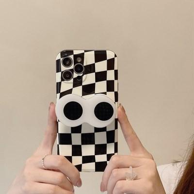 블랙라벨 패턴 왕눈이 더블 그립톡 케이스
