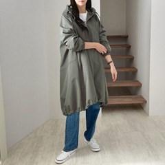 여자 캐주얼 감각적인 벌룬핏 첼리 사파리 롱 자켓