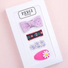 메르시밴드 쁘띠 미니헤어핀 하프 선물세트 3P (라벤더)