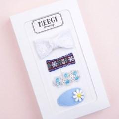 메르시밴드 쁘띠 미니헤어핀 하프 선물세트 3P (블루)