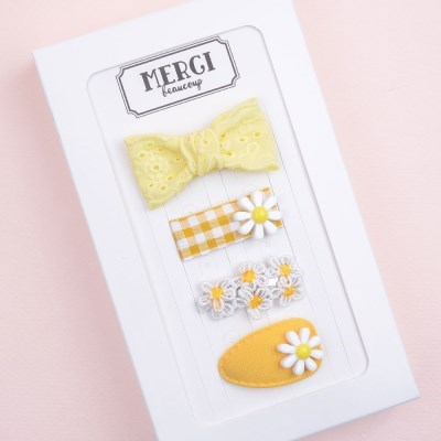메르시밴드 샤벳 미니헤어핀 하프 선물세트 3P (레몬)
