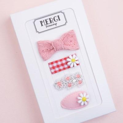 메르시밴드 샤벳 미니헤어핀 하프 선물세트 3P (핑크)