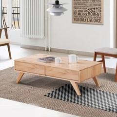 [리앳홈] 이디엄 북유럽 소나무원목 서랍형 거실테이블 1200