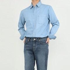 여름 남자 스탠다드 스티치 연청 진청 데님 긴팔 셔츠