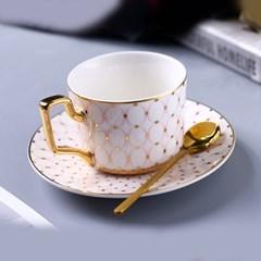 감성 북유럽 골드라인 고급 커피잔 티스푼 세트 A13
