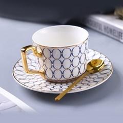 감성 북유럽 골드라인 고급 커피잔 티스푼 세트 A14