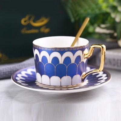 감성 북유럽 골드라인 고급 커피잔 티스푼 세트 A15