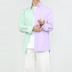 여름 남자 오버핏 바이오워싱 반반 무지 긴팔 셔츠