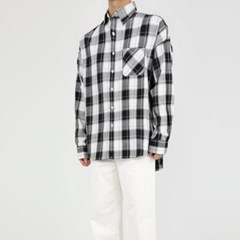 여름 남자 오버핏 빅체크 박스 빅사이즈 포켓 긴팔 셔츠