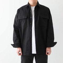 여름남자 오버핏 카라넥 포켓 단추 코튼 박스 셔츠자켓
