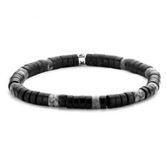 [프랭크1967] 시실리 원석 비즈팔찌 블랙 그레이 (7FB-0434)