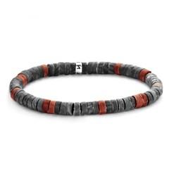 [프랭크1967] 시실리 원석 비즈팔찌 블랙 레드 (7FB-0433)