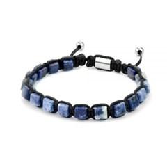 [프랭크1967] 소달라이트 사각원석 매듭 비즈팔찌 블루 (7FB-0248)