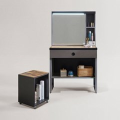 리파 그레이 LED 수납 거울 화장대+의자 세트 (착불)