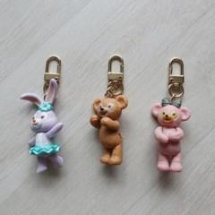 귀여운 곰돌이 토끼 동물 에어팟 키링 백참 (3color)