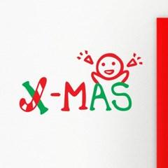 x-mas 지팡이와 아이 크리스마스 스티커