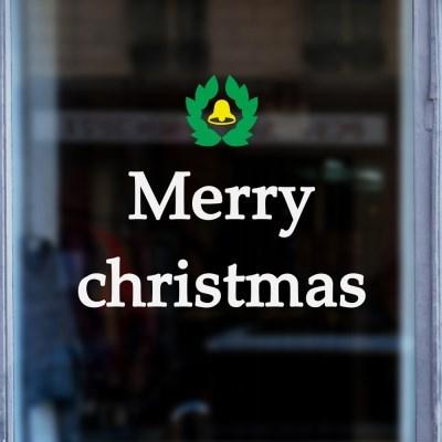 merry christmas 미니 월계수와 종 크리스마스 레터링 스티커