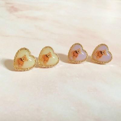 곰곰이 하트 귀걸이 2color